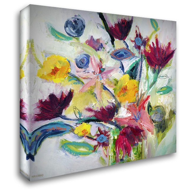 Happy Floral I 28x28 Gallery Wrapped Stretched Canvas Art by Wingard, Pamela J.