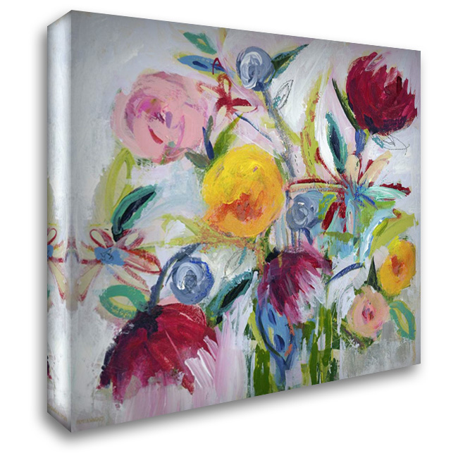 Happy Floral II 28x28 Gallery Wrapped Stretched Canvas Art by Wingard, Pamela J.