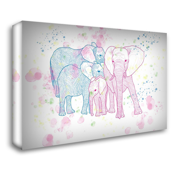 Happy Elephant Family 40x28 Gallery Wrapped Stretched Canvas Art by Murdock, Ramona