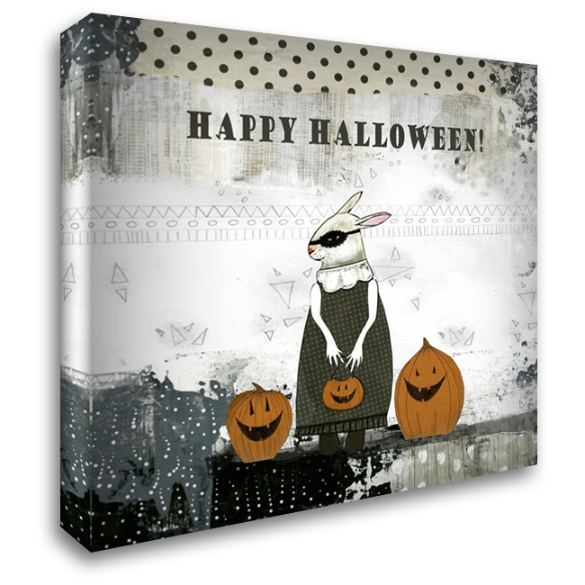 Happy Halloween Rabbit 28x28 Gallery Wrapped Stretched Canvas Art by Ogren, Sarah