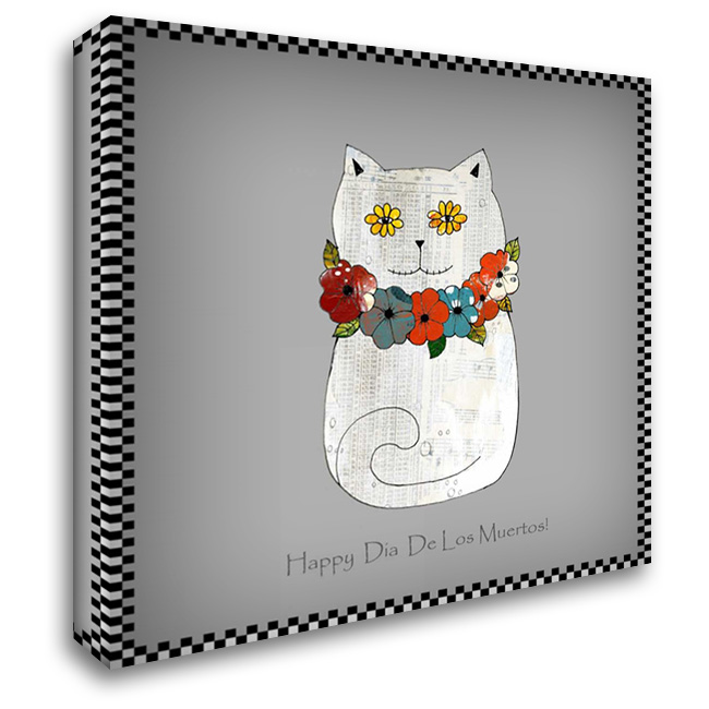 Happy Day of the Dead Cat 28x28 Gallery Wrapped Stretched Canvas Art by Ogren, Sarah