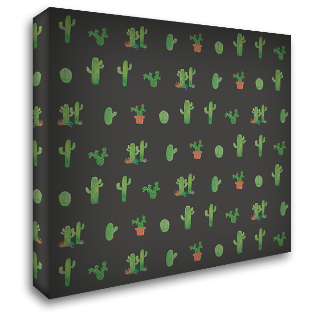 Happy Cactus - Charcoal 28x28 Gallery Wrapped Stretched Canvas Art by Apple, Tammy