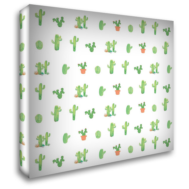 Happy Cactus - White 28x28 Gallery Wrapped Stretched Canvas Art by Apple, Tammy