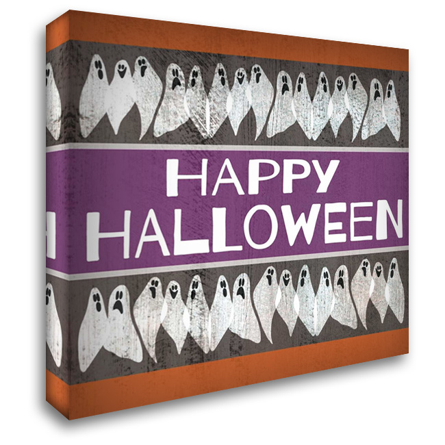 Happy Halloween Ghosts 28x28 Gallery Wrapped Stretched Canvas Art by Welsh, Shanni