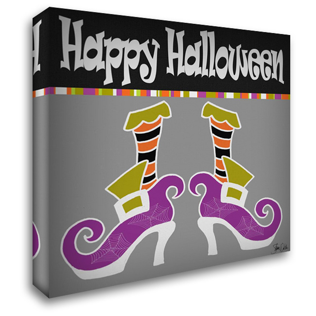 Happy Halloween Boots 28x28 Gallery Wrapped Stretched Canvas Art by Welsh, Shanni