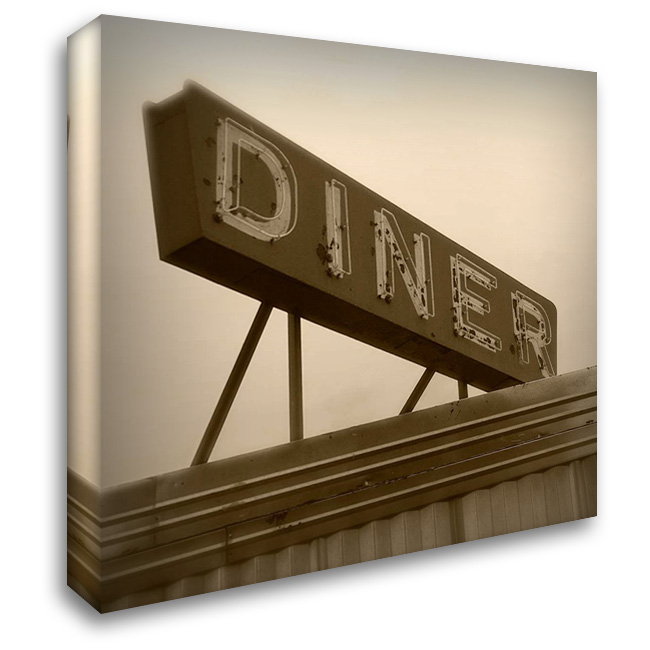 Diner Sign 28x28 Gallery Wrapped Stretched Canvas Art by Robertson, Walter