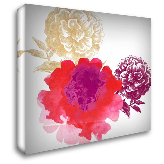 Happy Garden Reds 28x28 Gallery Wrapped Stretched Canvas Art by Dos Santos, Bella