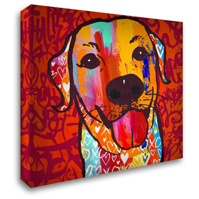 Happiest Lab! 28x28 Gallery Wrapped Stretched Canvas Art by Taylor, Evangeline