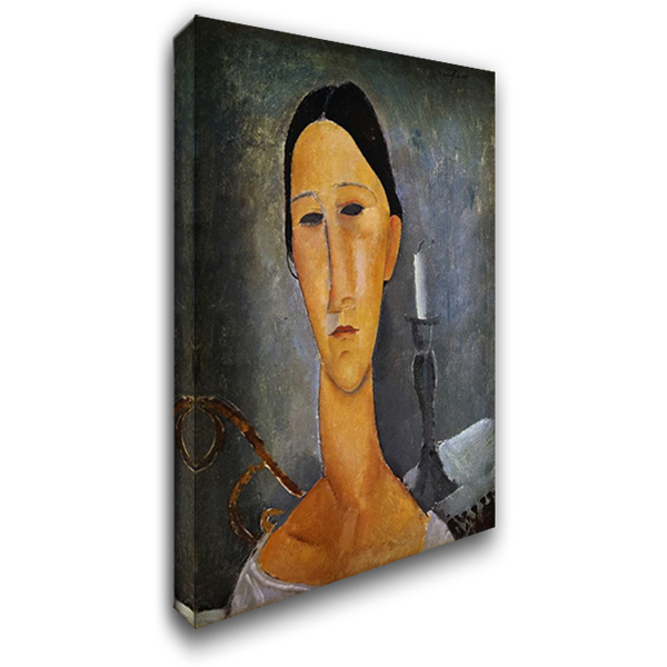 Hanka Zborowska with a Candlestick 27x40 Gallery Wrapped Stretched Canvas Art by Modigliani, Amedeo