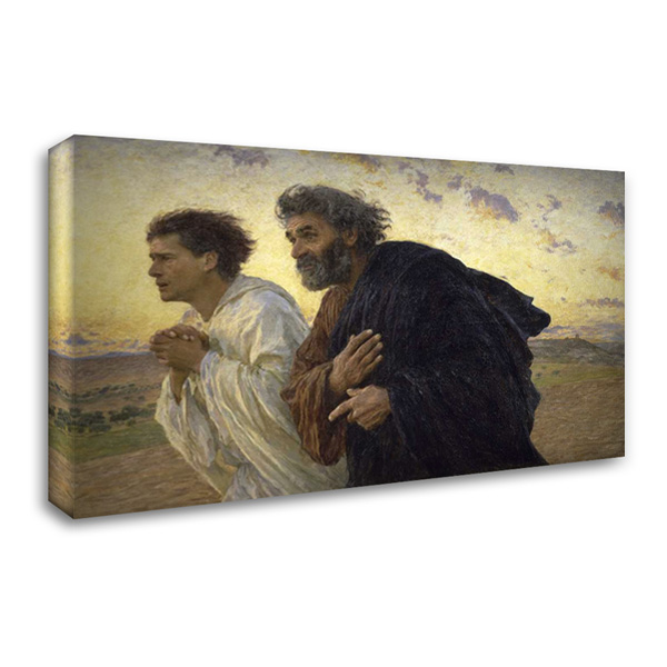Disciples Peter and John Rushing To The Sepulcherthe Morning of The Resurrection 40x26 Gallery Wrapped Stretched Canvas Art by Burnand, Eugene