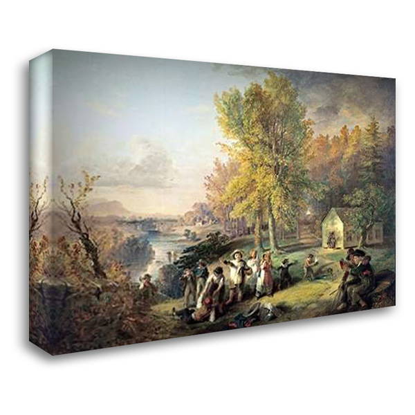 Dismissal of School On An October Afternoon 38x28 Gallery Wrapped Stretched Canvas Art by Inman, Henry