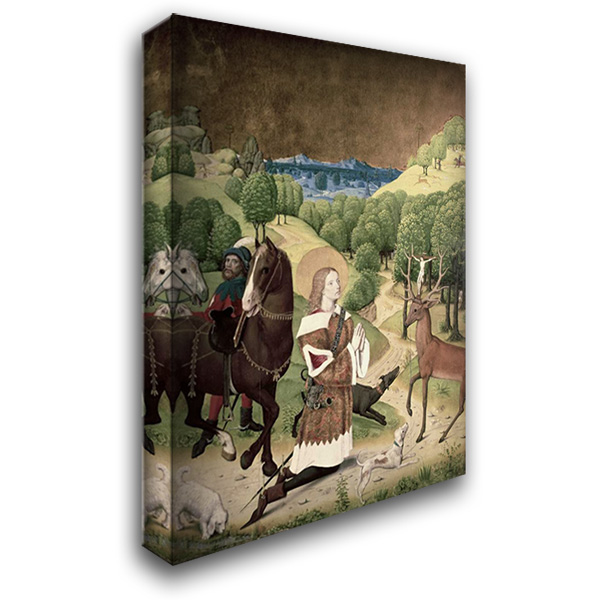 Conversion of St. Hubert 28x40 Gallery Wrapped Stretched Canvas Art by Master of Werden
