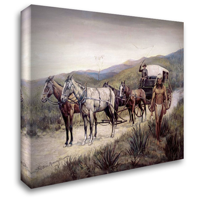 Halted Stagecoach 37x28 Gallery Wrapped Stretched Canvas Art by Remington, Frederic