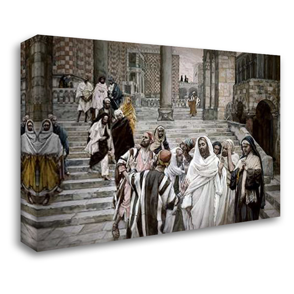 Disciples Admire The Buildings of The Temple 38x28 Gallery Wrapped Stretched Canvas Art by Tissot, James