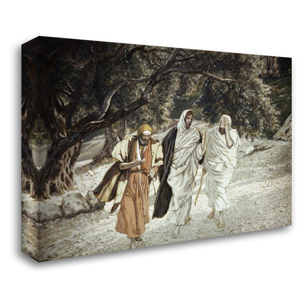 Disciples On The Road To Emmaus 40x28 Gallery Wrapped Stretched Canvas Art by Tissot, James Jacques