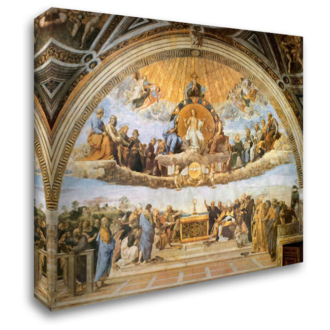 Dispute At The Eucharist 36x28 Gallery Wrapped Stretched Canvas Art by Raphael