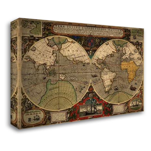 Vera Totius Expeditionis Nautica 40x28 Gallery Wrapped Stretched Canvas Art by Ortelius, Abraham