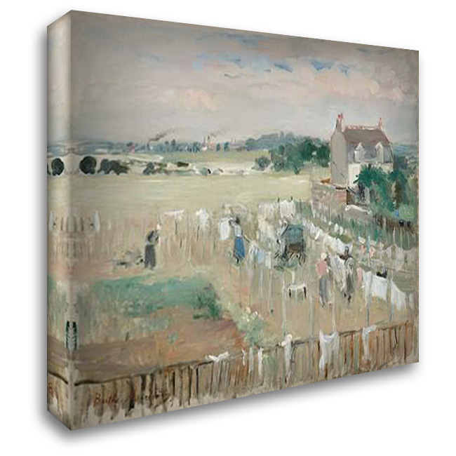 Hanging the Laundry out to Dry, 1875 36x28 Gallery Wrapped Stretched Canvas Art by Morisot, Berthe