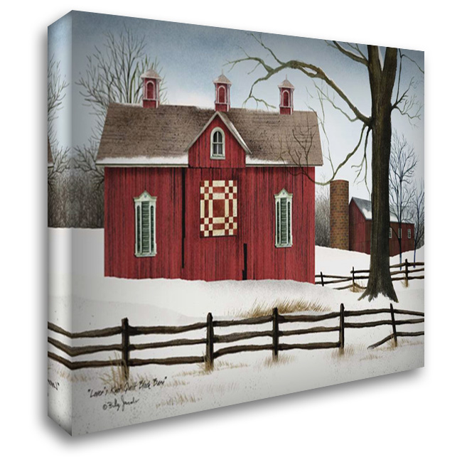 Lovers Knot Quilt Block Barn 37x28 Gallery Wrapped Stretched Canvas Art by Jacobs, Billy
