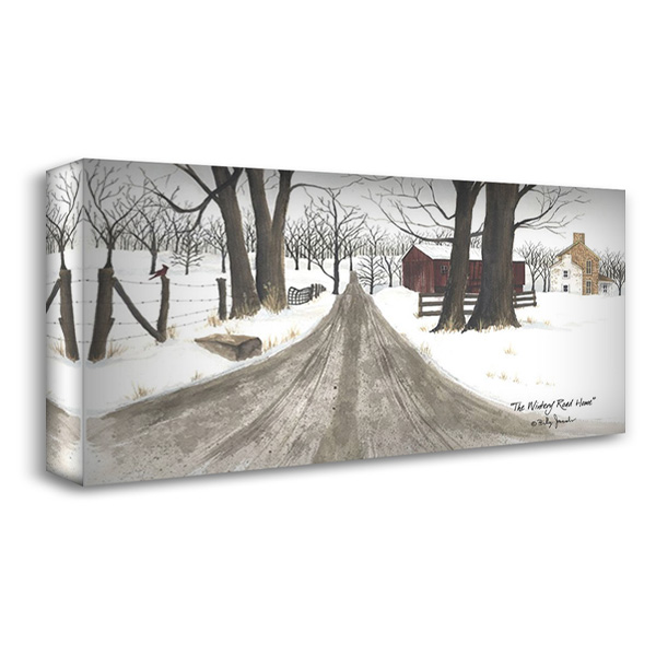 The Wintery Road Home 40x23 Gallery Wrapped Stretched Canvas Art by Jacobs, Billy