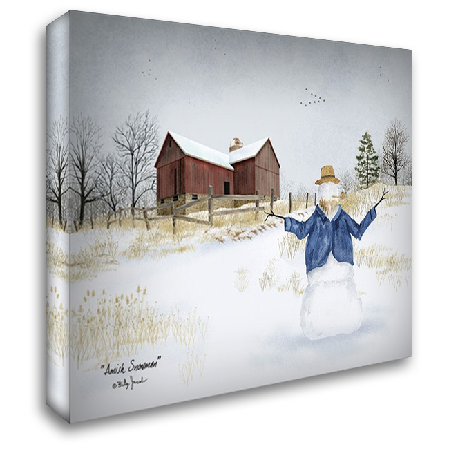 Amish Snowman 37x28 Gallery Wrapped Stretched Canvas Art by Jacobs, Billy