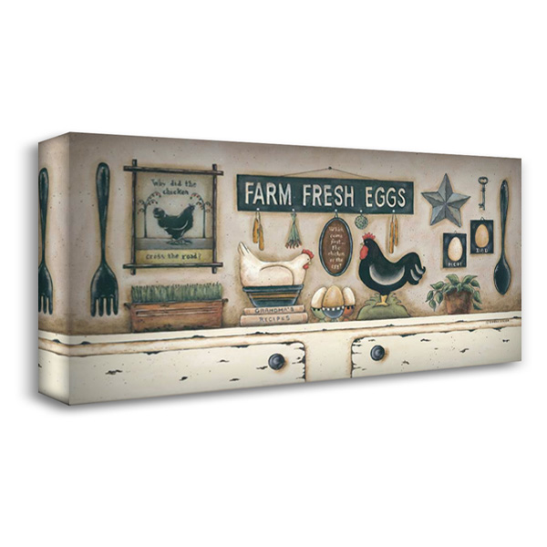 Farm Fresh Eggs 40x22 Gallery Wrapped Stretched Canvas Art by Atkins, Donna