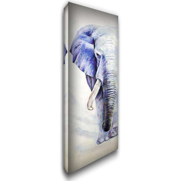HALF HEAD COLORFUL ELEPHANT 16x40 Gallery Wrapped Stretched Canvas Art by Atelier B Art Studio