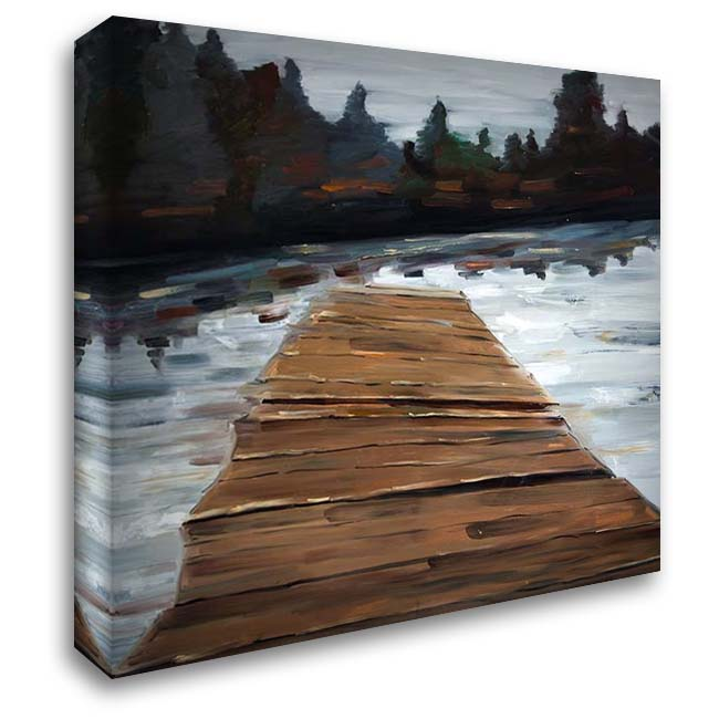 DOCK AND LAKE 28x28 Gallery Wrapped Stretched Canvas Art by Atelier B Art Studio