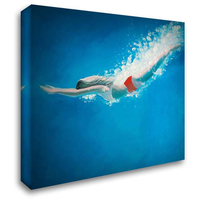 DIVING JUMP 28x28 Gallery Wrapped Stretched Canvas Art by Atelier B Art Studio