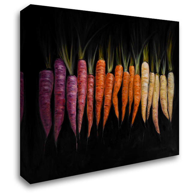 Different Coloured Carrots Vegetable 28x28 Gallery Wrapped Stretched Canvas Art by Atelier B Art Studio