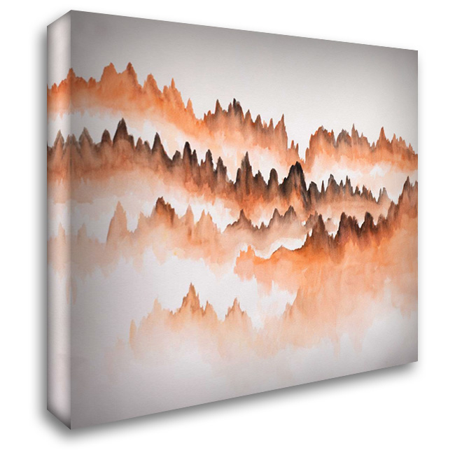 Distant Mountains 28x28 Gallery Wrapped Stretched Canvas Art by Atelier B Art Studio