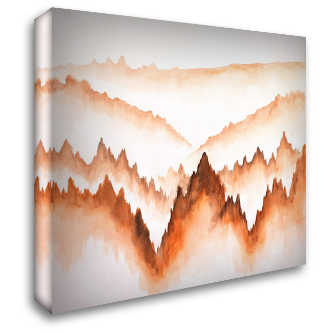 Distant Mountains and Trees 28x28 Gallery Wrapped Stretched Canvas Art by Atelier B Art Studio
